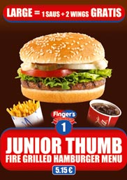 Our Junior Thumb Menu, a fire grilled hamburger Menu for only 5,15 €