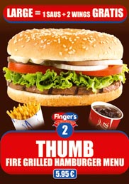 Our Thumb Menu, a fire grilled hamburger Menu forr only 5,95 €