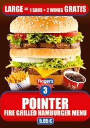 Our Pointer Menu, a fire grilled hamburger Menu for only 5,95 €