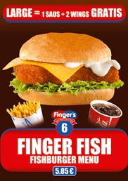 Our Finger's Fish Menu, a Fishburger Menu for only 5,85 €