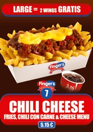 Our Chilli Cheese Menu, a Fries, Chilli Con Carne & Cheese Menu for only 5,15 €
